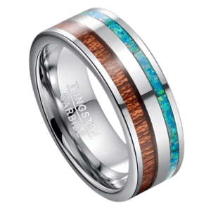 Men's Tungsten Ring - Wood, Opal and Silver Tungsten