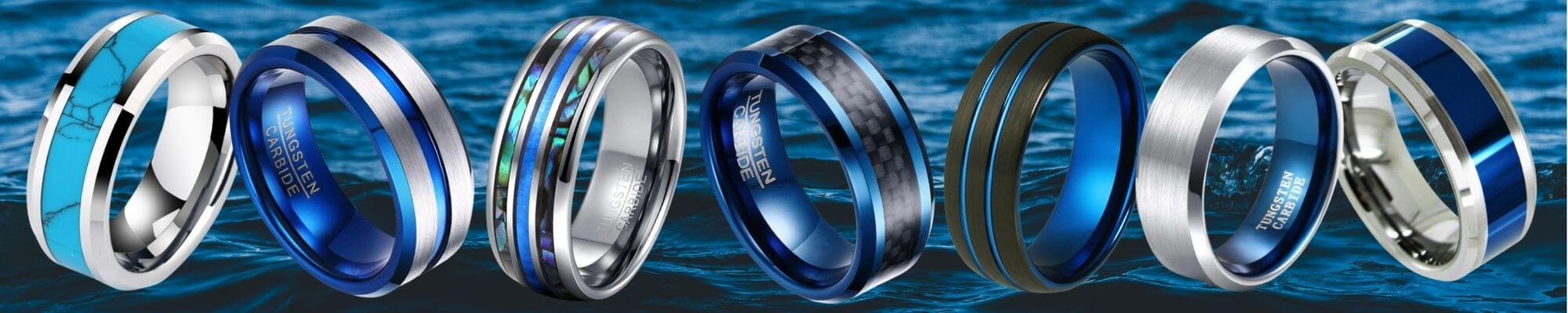 Selection of Blue Tungsten Rings for Men