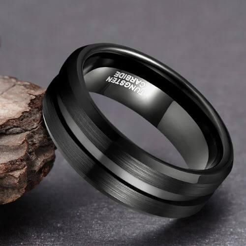 Elegant Black Man's Ring made with Tungsten Carbide