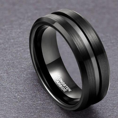 Stylish Brushed Black Men's Ring