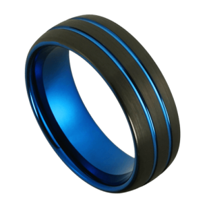 Men's Black and Blue Domed Tungsten Ring