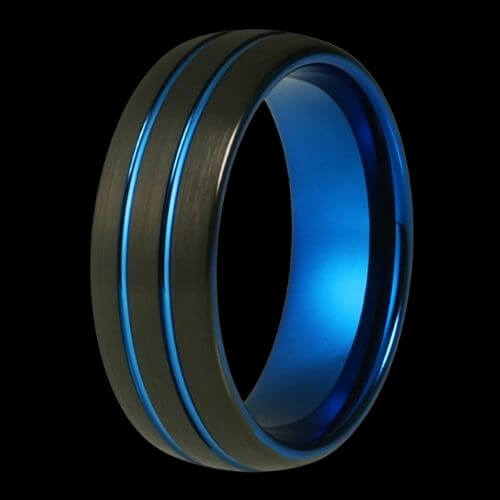 Blue and Black Men's Tungsten Ring