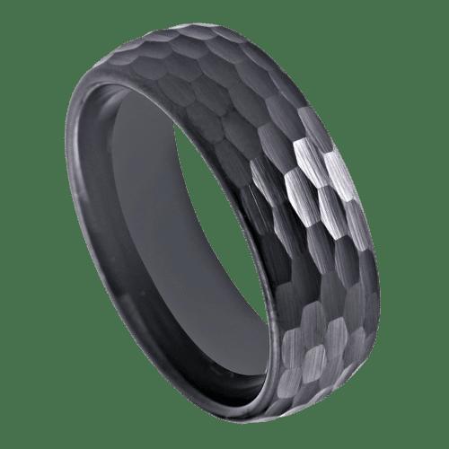 Men's Tungsten Hammered Black Ring