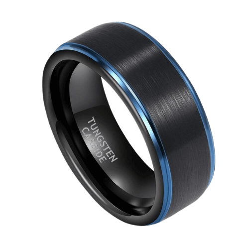 Man's Black and Blue Tungsten Ring