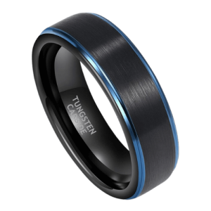 Men's Black and Blue Tungsten Ring