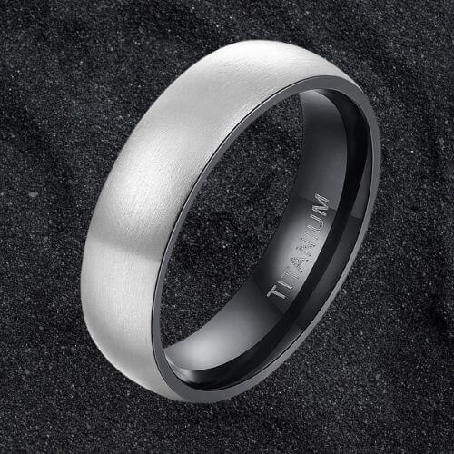 Silver and Black Titanium Ring for Men