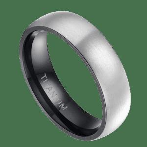 Men's Silver and Black Titanium Ring