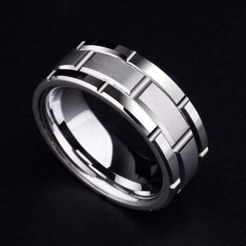 Man's Silver Tungsten Ring