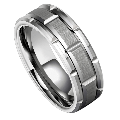 Brickwork Pattern Silver Tungsten Ring for Men