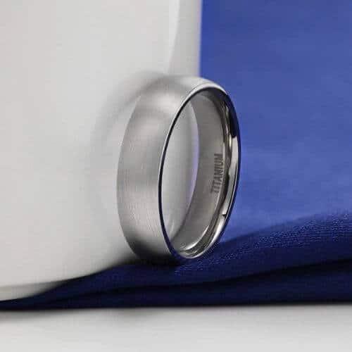 Men's Titanium Ring in Beautiful Brushed Silver