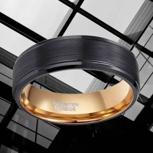 Man's Black and Rose Gold Tungsten Ring