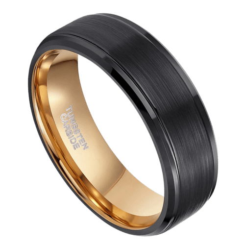 Black and Rose Gold Men's Tungsten Ring