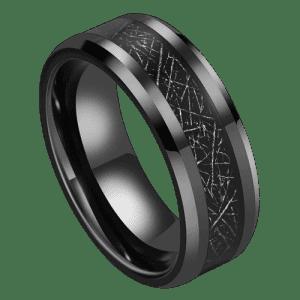 Men's Black Tungsten Ring with Meteorite Effect Inlay