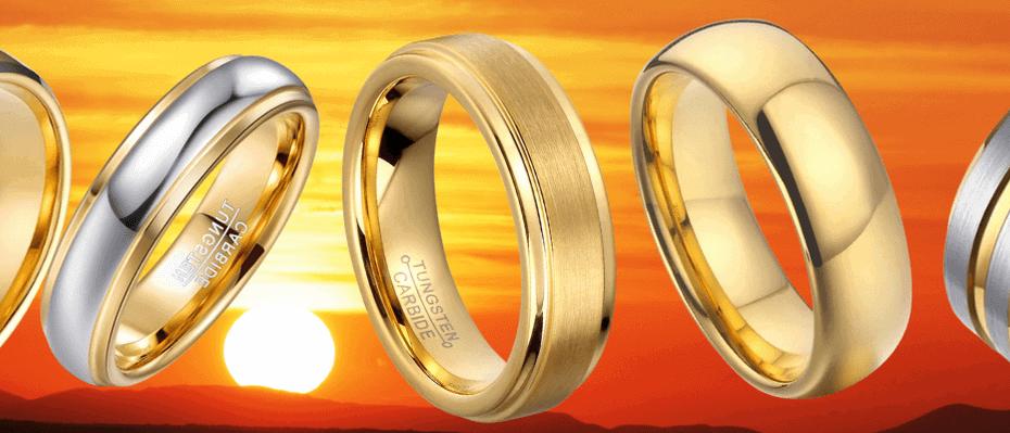 Men's Gold Tungsten Rings