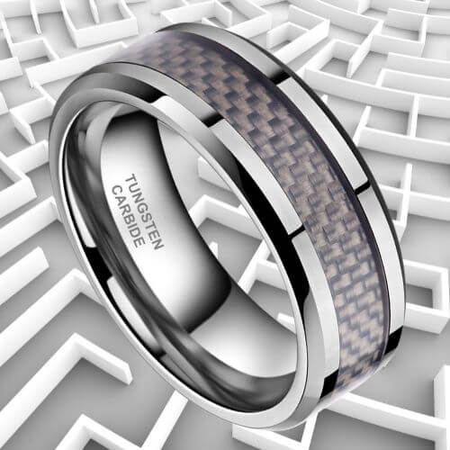 Men's Silver Tungsten Ring with Carbon Fibre Inlay