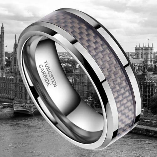 Silver Tungsten Ring for Men - Carbon Fibre Inlay