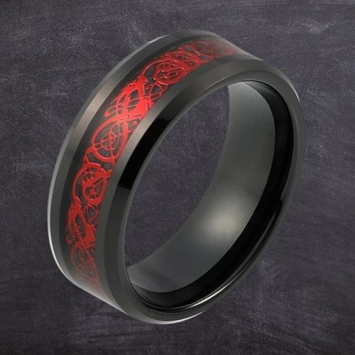 Sensational red and black tungsten ring for man