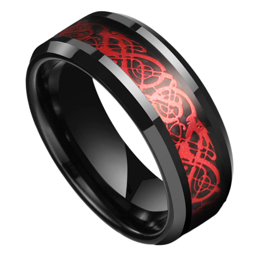 Tungsten Ring - Black with Red Inlay