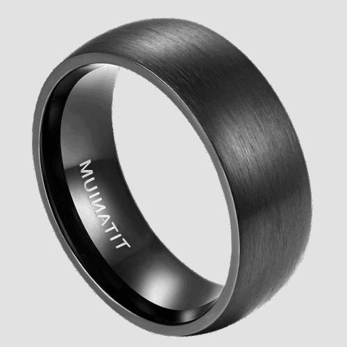 Men's Brushed Black Titanium Ring