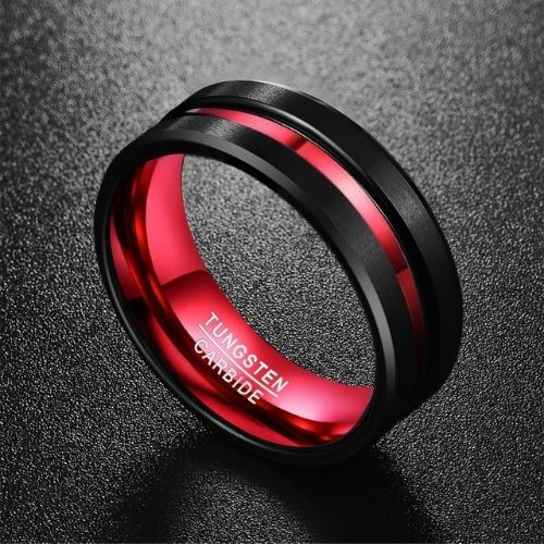 Men's Black and Red Tungsten Ring