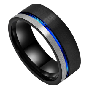 Black, Blue, and Silver Men's Tungsten Ring