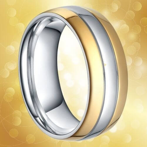 Men's Gold and Silver Titanium Ring