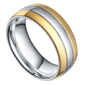 Men's ring in gold and silver titanium