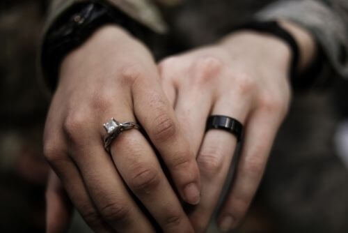 Couple wearing rings
