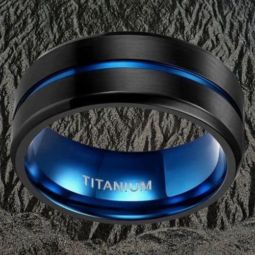 Titanium RIng for Men - Black and Blue