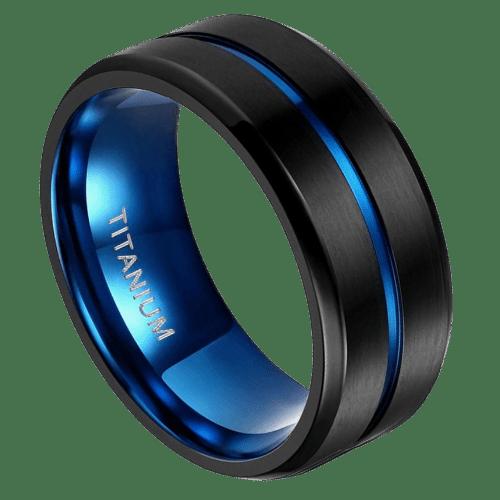 Black and Blue Men's Titanium Ring