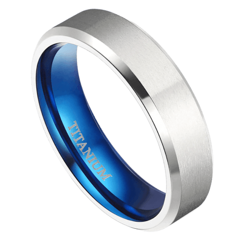 Men's Titanium Ring - Silver and Blue