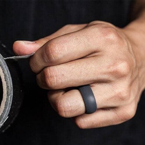 Men's Dark Grey Silicone Ring