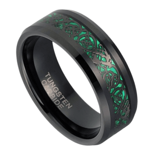 Black and Green Tungsten Ring