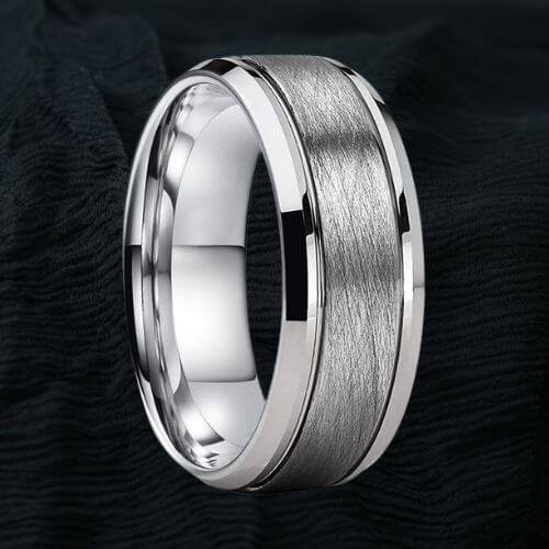 Silver Tungsten Ring - Grooved Centre and Bevelled Edges