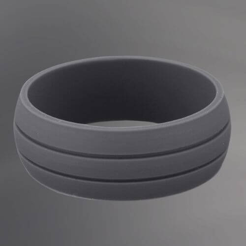 Mens dark grey silicone ring with two grooves