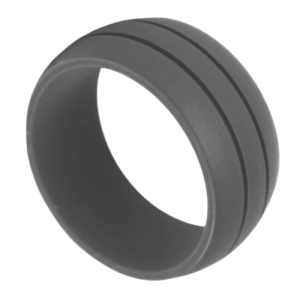 Men's Dark Grey Silicone Ring with Double Groove