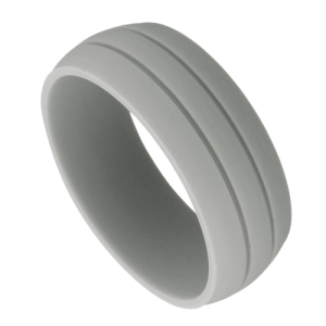 Men's Light Grey Silicone Ring with Double Groove