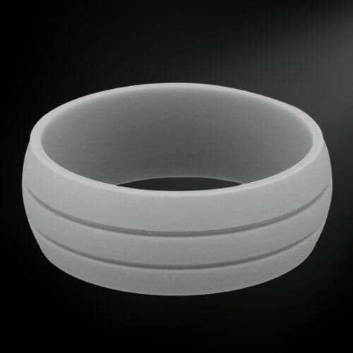 Man's Silicone Ring - Light Grey with Two Grooves