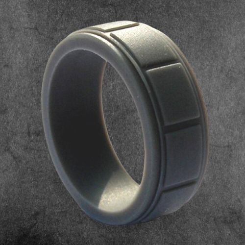 Man's Charcoal Grey Silicone Ring