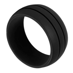 Men's Black Silicone Ring with Double Groove