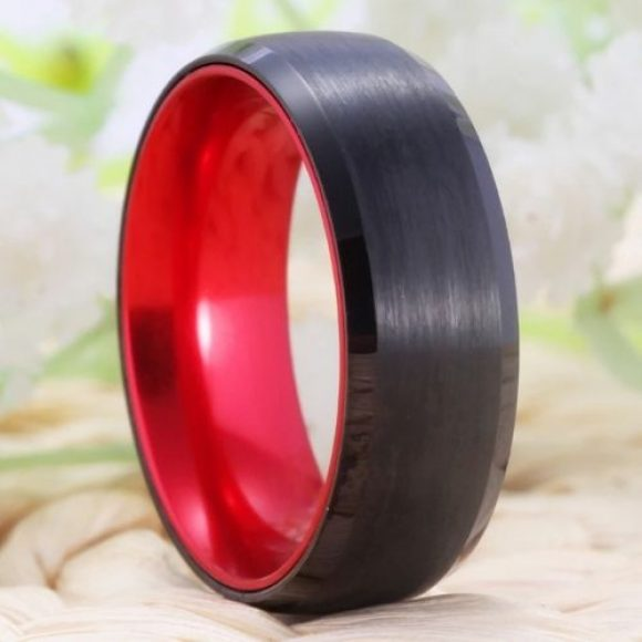 Black Men's Tungsten Ring with Red Interior