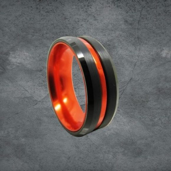 Black and Orange Tungsten Ring for Men
