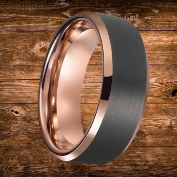 Sleek black and rose gold ring for men