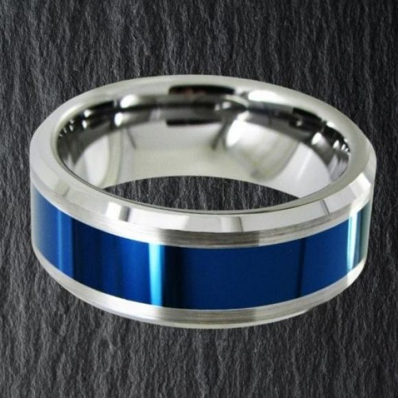 Blue and Silver Ring for Men made with Tungsten Carbide