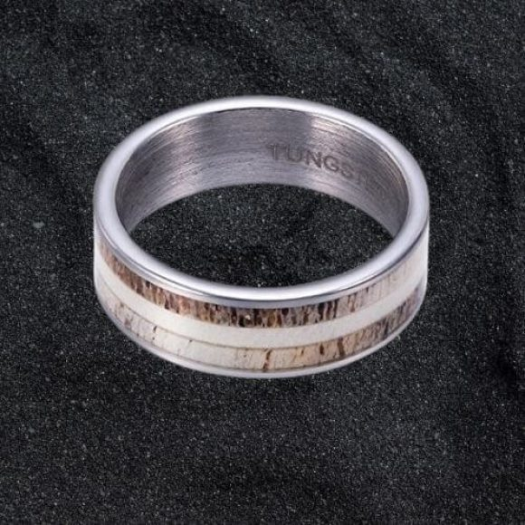 Tungsten Carbide Men's Ring with Naturally Shed Deer Antler Bone