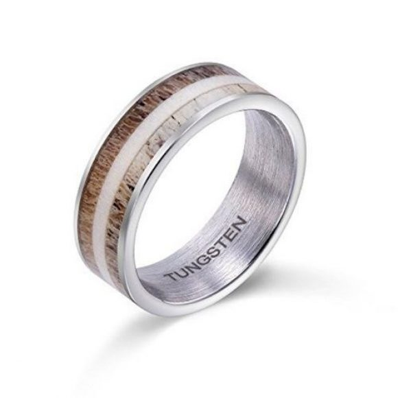 Men's Ring featuring Naturally Shed Deer Antler set within a Silver Tungsten Ring