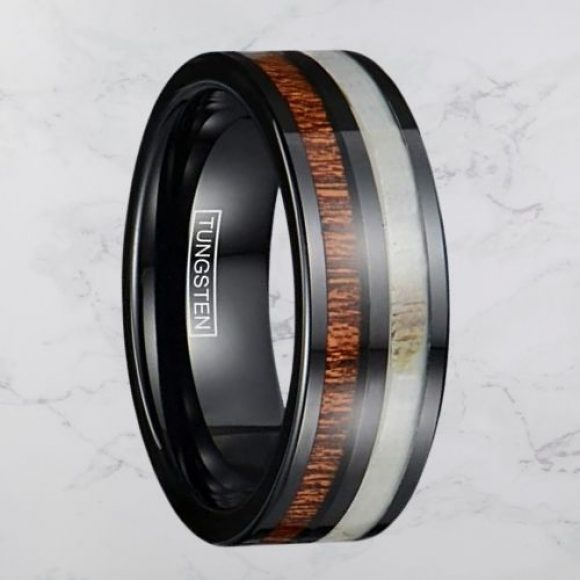 Tungsten Carbide Men's Ring - Black with Natural Wood and Antler