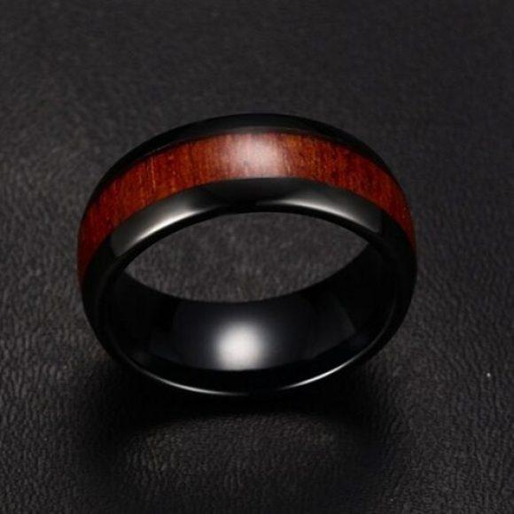 Black and Natural Wood Men's Ring