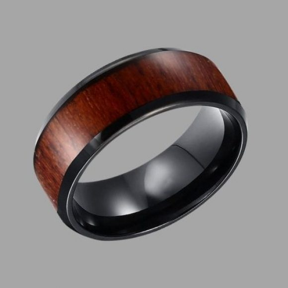 Black and Wood Ring for Men