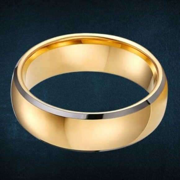 Gold and Silver Ring for Men made with Tungsten Carbide